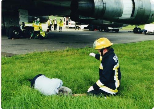 This exercise includes all aspects and Practical training, to ensure both RFFS and civilian emergency services, are able to deal with the problems and hazards associated with a Major aircraft incident. Services includes RFFS, Fire, Police, Ambulance, Doctor and HM Coastguard. ?This exercise was carried using 9GMKA MK Cargo Aircraft.