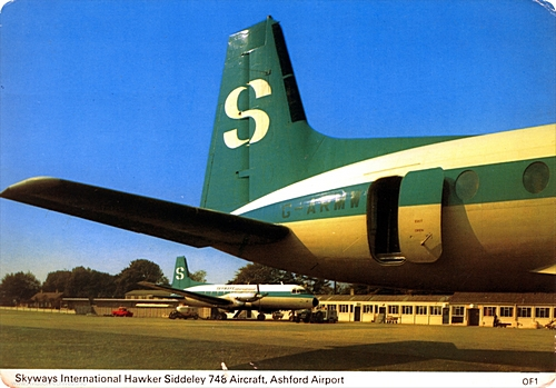 Charles Skilton postcard featuring the apron area at Ashford Lympne airport, now closed. ??... ?... The terminal is in the background behind two Avro 748's, the closest being G-ARMW, which first flew in 1961. ??... ?... Skyways were taken over by Dan Air.