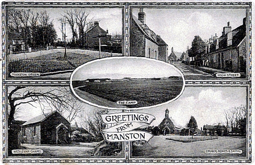 Card depicting the Camp, Manston Green, High Street, Wesleyan Chapel, Church, Homes and Smithy.